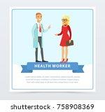 male doctor giving... | Shutterstock .eps vector #758908369