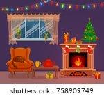 christmas room interior in... | Shutterstock .eps vector #758909749