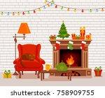 christmas room interior in... | Shutterstock .eps vector #758909755