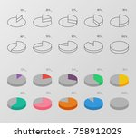 set of outline and flat style... | Shutterstock .eps vector #758912029