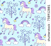 seamless pattern with unicorns... | Shutterstock .eps vector #758912881