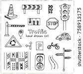 hand drawn doodle traffic set.... | Shutterstock .eps vector #758913175