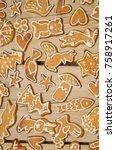 christmas gingerbread cookies...   Shutterstock . vector #758917261