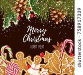 greeting christmas card | Shutterstock .eps vector #758917339