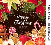 greeting christmas card | Shutterstock .eps vector #758917351