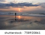 sky and sea. beautiful sunset.... | Shutterstock . vector #758920861