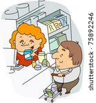 illustration of a cashier at... | Shutterstock .eps vector #75892246