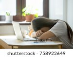 tired young woman falling... | Shutterstock . vector #758922649