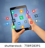 female fingers touching tablet... | Shutterstock . vector #758928391