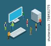 isometric computer concept .... | Shutterstock .eps vector #758931775
