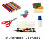 kid set of drawing and sculpting | Shutterstock . vector #75893851