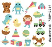 set of different toys icons.... | Shutterstock .eps vector #758941369
