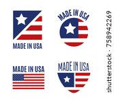 vector set of made in the usa... | Shutterstock .eps vector #758942269