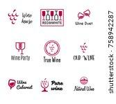 wine logo templates. bottle ... | Shutterstock .eps vector #758942287