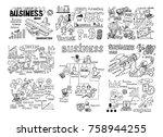 mega set of business doodles... | Shutterstock .eps vector #758944255