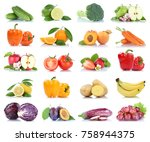 fruit fruits and vegetables... | Shutterstock . vector #758944375