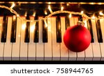 christmas ball and lights on a...   Shutterstock . vector #758944765