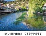 medieval village fontaine de... | Shutterstock . vector #758944951