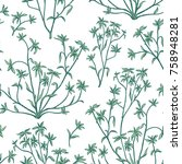 floral leaves seamless pattern. ... | Shutterstock .eps vector #758948281