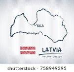 latvia sketch chalk drawing map ... | Shutterstock .eps vector #758949295