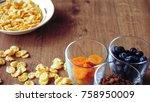 cereal and fruit for breakfast...   Shutterstock . vector #758950009