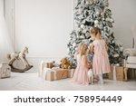 two cute little girls in pink... | Shutterstock . vector #758954449