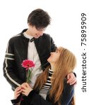 son giving flowers to his mom | Shutterstock . vector #75895909