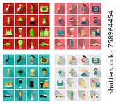 set of weddings icons in flat... | Shutterstock .eps vector #758964454