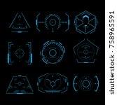 futuristic crosshair set | Shutterstock .eps vector #758965591