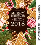 greeting christmas card | Shutterstock .eps vector #758968801