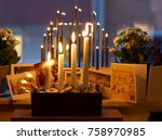 typical swedish advent candle... | Shutterstock . vector #758970985