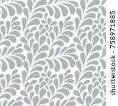 floral vector ornamental pattern | Shutterstock .eps vector #758971885