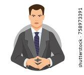 serious businessman linking...   Shutterstock .eps vector #758973391