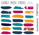 brush strokes set. paint line... | Shutterstock .eps vector #758974315