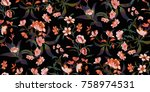 seamless floral pattern in... | Shutterstock .eps vector #758974531