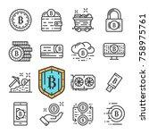 black line bitcoin icons set....   Shutterstock . vector #758975761