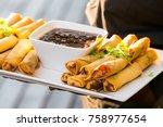 fresh vegetarian spring rolls... | Shutterstock . vector #758977654