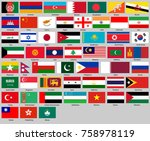 all flags of asia. correct size ... | Shutterstock .eps vector #758978119
