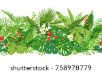 horizontal  floral seamless... | Shutterstock .eps vector #758978779