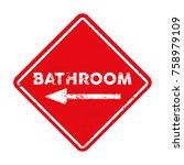 red bathroom sign left   Shutterstock .eps vector #758979109