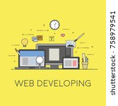 web and mobile developing.... | Shutterstock .eps vector #758979541