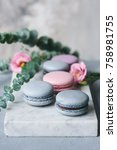 pastel macarons or macaroon on... | Shutterstock . vector #758981755
