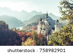 neuschwanstein castle under... | Shutterstock . vector #758982901