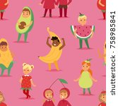 kids children party fruits... | Shutterstock .eps vector #758985841