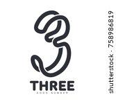 number three logo templates.... | Shutterstock .eps vector #758986819
