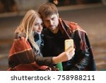 young happy couple take selfie... | Shutterstock . vector #758988211