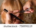 scissors. a haircut. hairstyle. ... | Shutterstock . vector #758990119