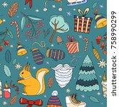 merry christmas doodle seamless ... | Shutterstock .eps vector #758990299