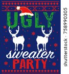 ugly sweater christmas party | Shutterstock .eps vector #758990305