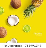 creative layout made of lime ... | Shutterstock . vector #758991349
